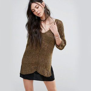 FREE PEOPLE georgia knit V Neck Sweater small